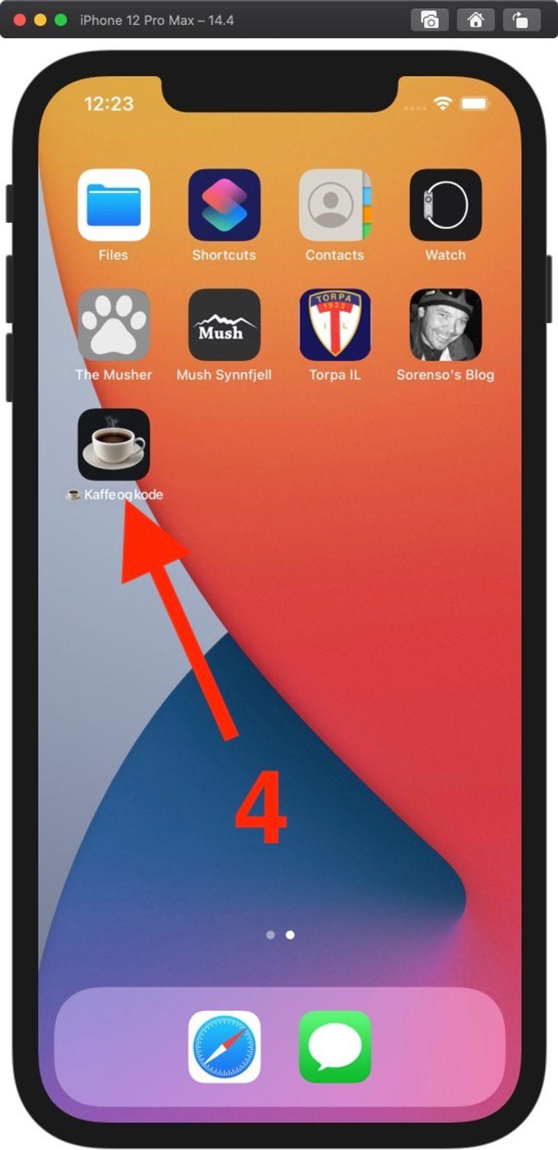 4. Appen er nå installert på hjemskjermen din.