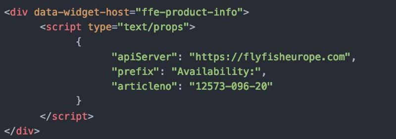 FFE product widget